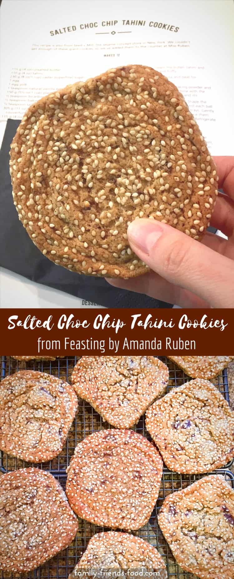 Studded with dark chocolate chunks, these delicious tahini cookies are sweet, soft and oh so moreish! Recipe reproduced (with permission) from Feasting by Amanda Ruben + read the full book review here. #cookies #tahini #sesame #sesameseeds #tahinicookies #chocolate #baking