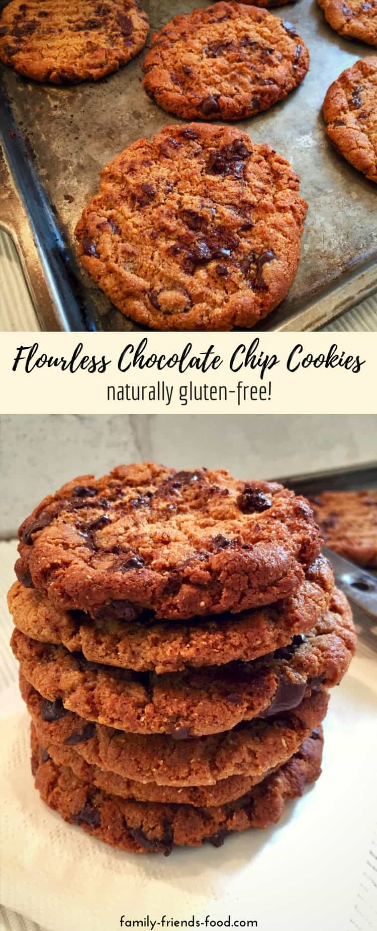 Crispy-edged, chewy-centred, scrumptious chocolate chip cookies made with creamy almond butter so they're naturally gluten free. Easy to make and perfect for Pesach (Passover) or any time!