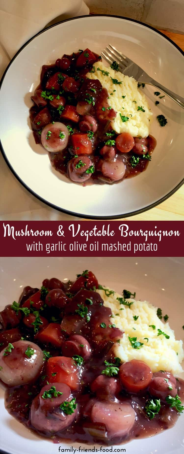 Mushroom &vegetable bourguignon is a rich and hearty vegan dish of fresh vegetables and aromatic herbs simmered in a delicious red wine sauce. Served with garlic olive oil mash it makes a fabulous gluten-free family dinner.