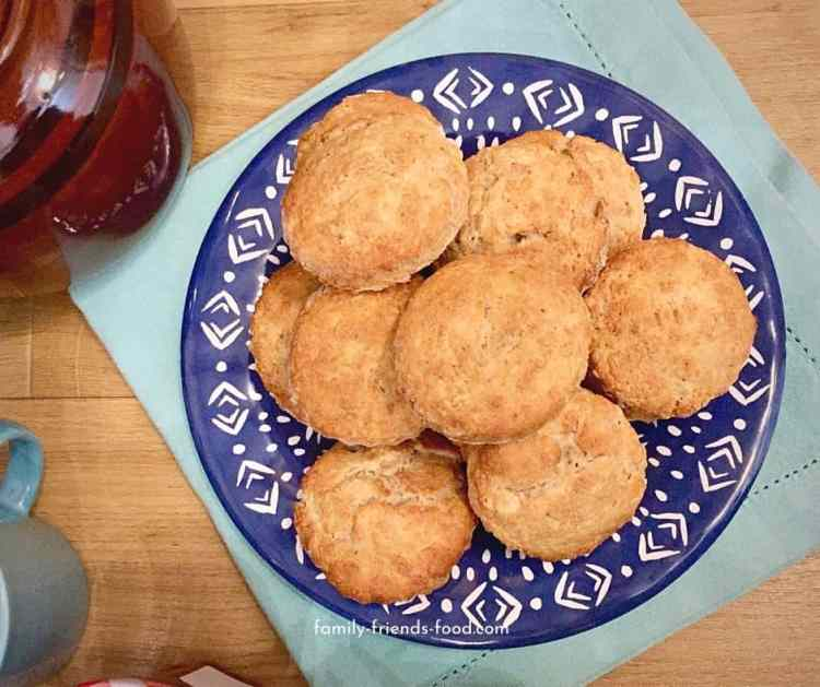 Banana scones on a plate.