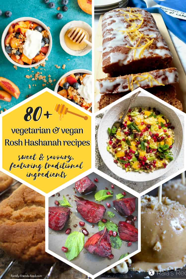 A 1-stop shop for vegetarian & vegan Rosh Hashanah recipes! Over 80 hand chosen sweet & savoury dishes, all featuring traditional ingredients. Shana Tova!