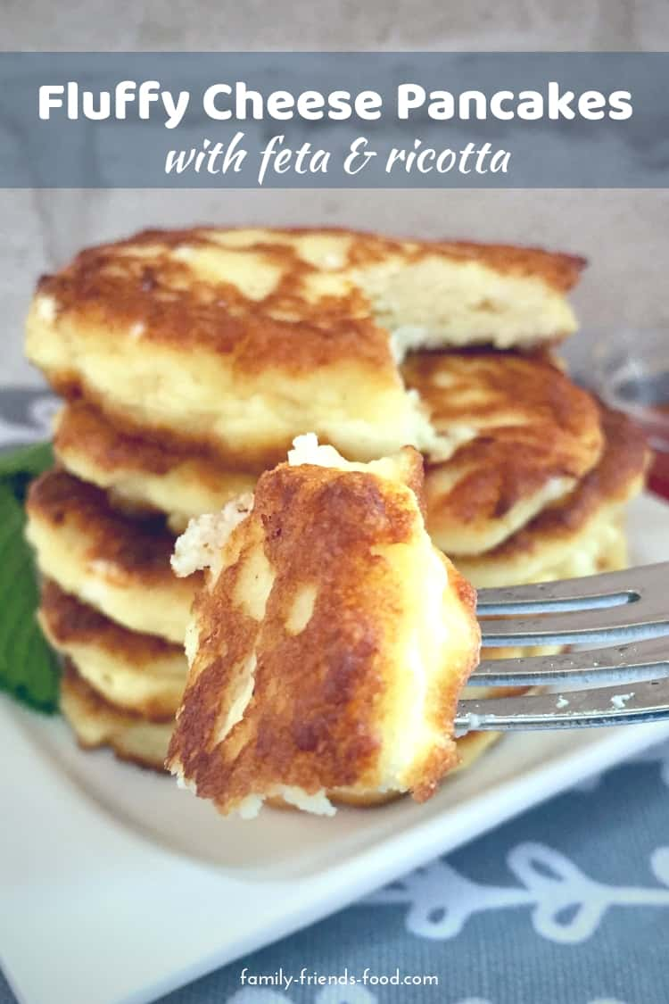 Light and fluffy cheese pancakes made with ricotta and feta are deliciously savoury. Perfect for Chanukah or as a tasty brunch treat at any time!