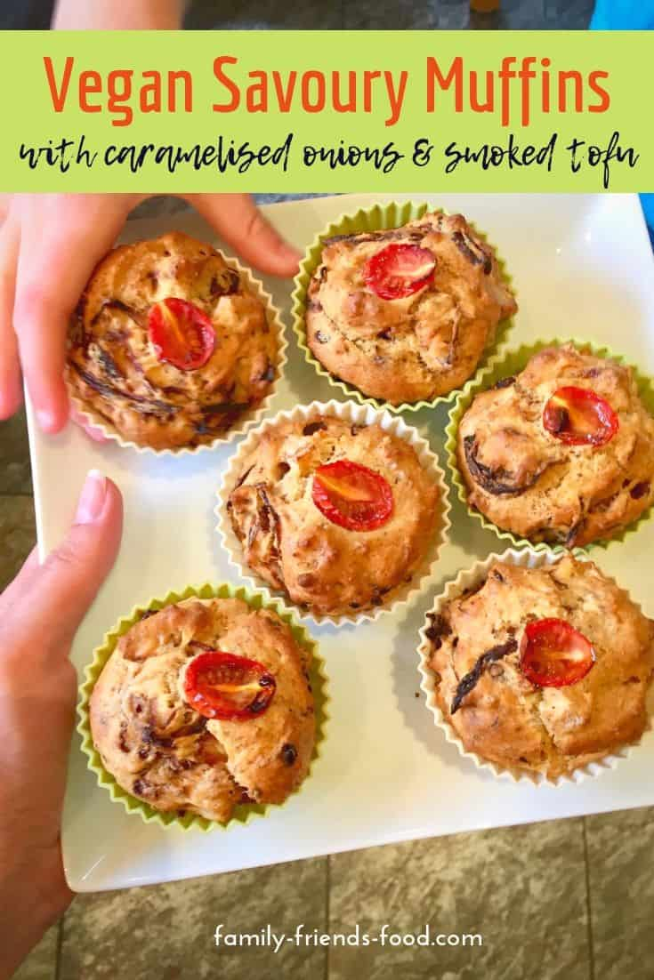 vegan savoury muffins on a plate.