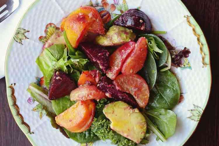 Beet salad with avocado.