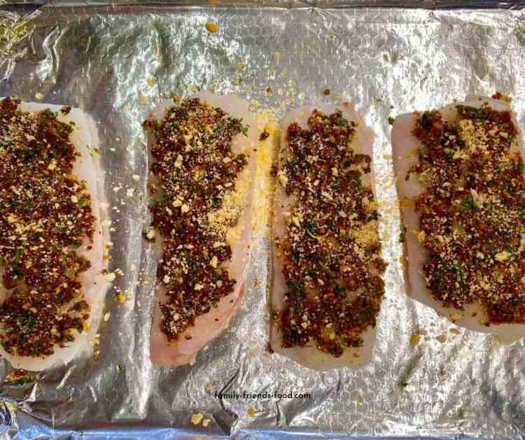 cod with sun-dried tomato crust.