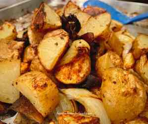 Roasted potatoes with onions and mushrooms.
