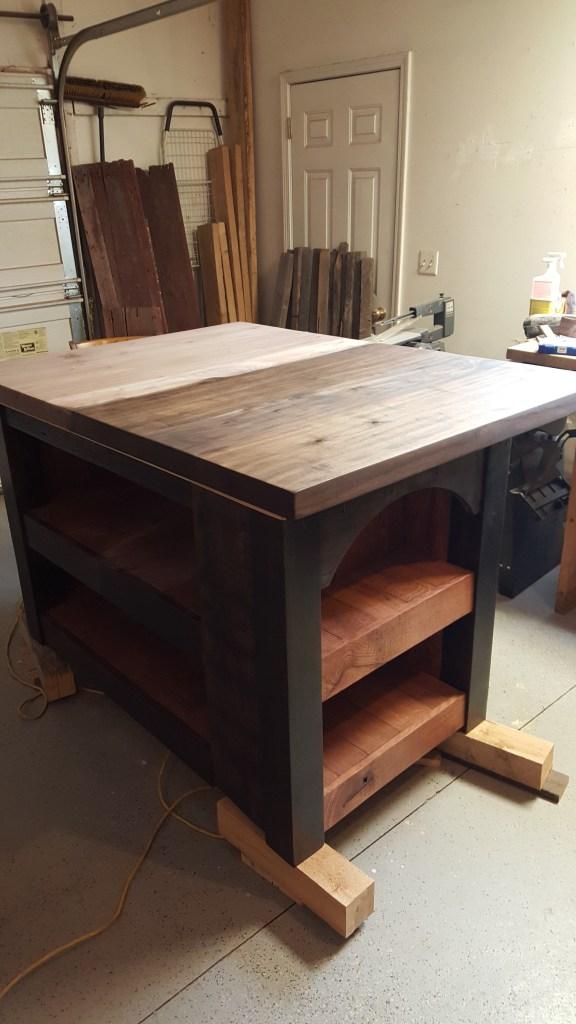 staining hardwood island top