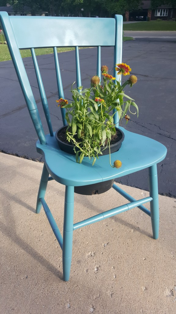 Upcycled Repainted Chair Planter