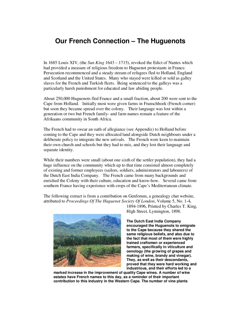 thumbnail of Our French Connection – The Huguenots