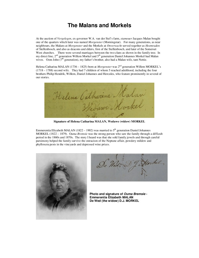 thumbnail of The Malans and Morkels
