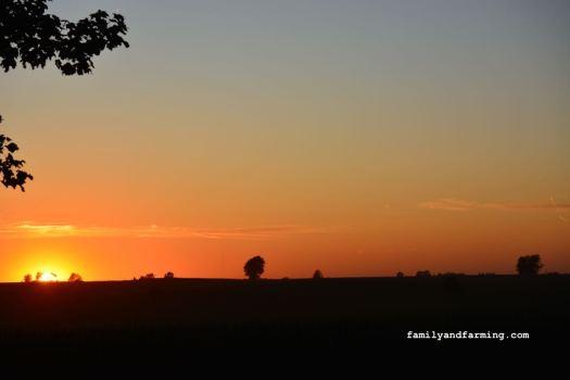 Sundown on a farm in Iowa