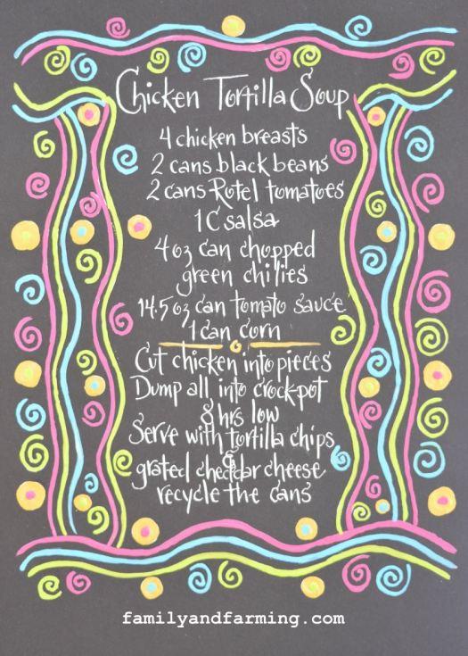 Illustrated chicken tortilla soup recipe