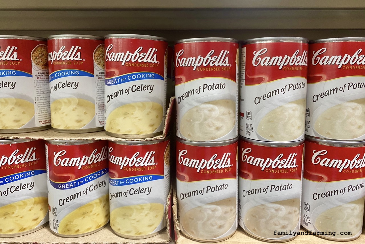 Cans of Cream of Chicken Soup on Shelf