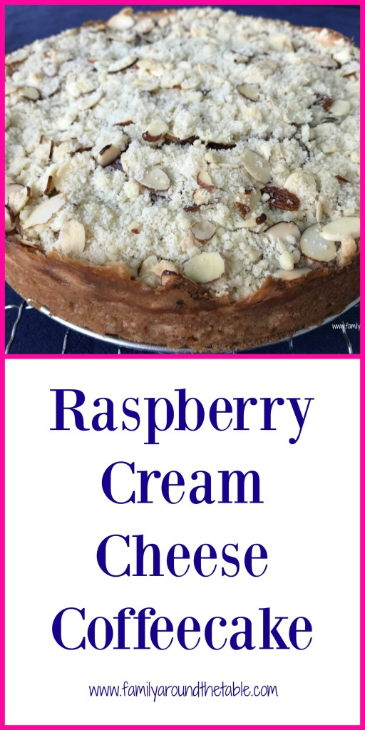 Full of raspberry and almond flavor, this raspberry cream cheese coffeecake is perfect with a cup of coffee or tea.