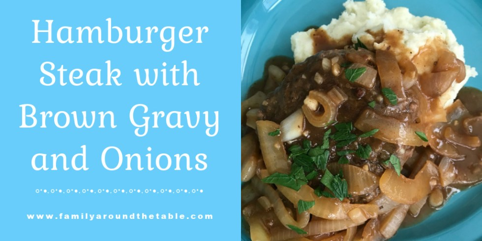 Hamburger Steak with Brown Gravy and Onions Twitter Image