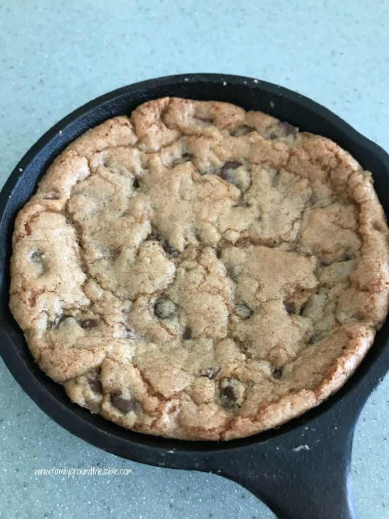 Individual chocolate chip skillet cookies are fun and easy to make.
