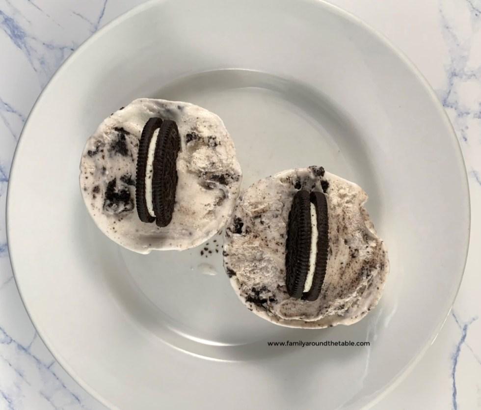 Overhead photo of Oreo cookies and cream cups.