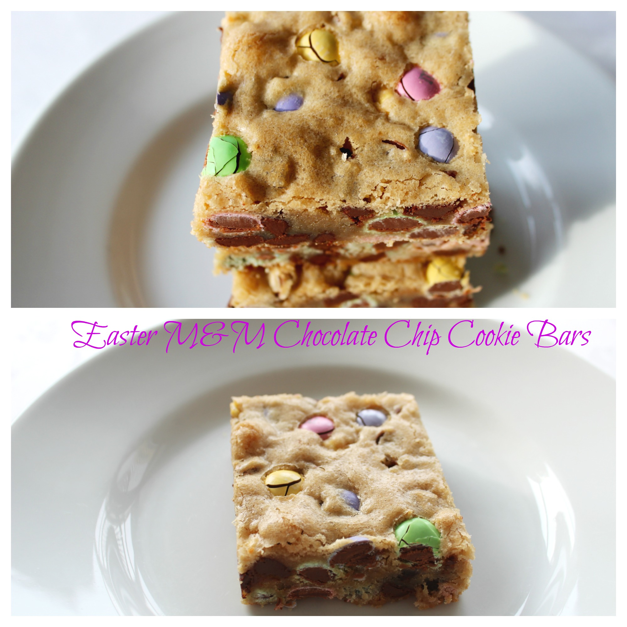 Easter M&M Chocolate Chip Cookie Bars