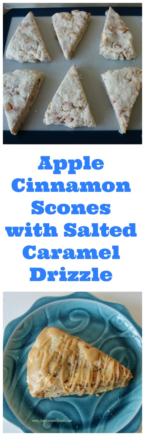 Apple Cinnamon Scones with Salted Caramel Drizzle are a great breakfast or mid-morning snack.