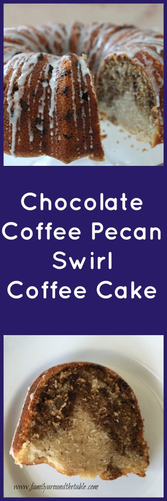 Chocolate coffee pecan swirl coffee cake is a delicious start to the day.