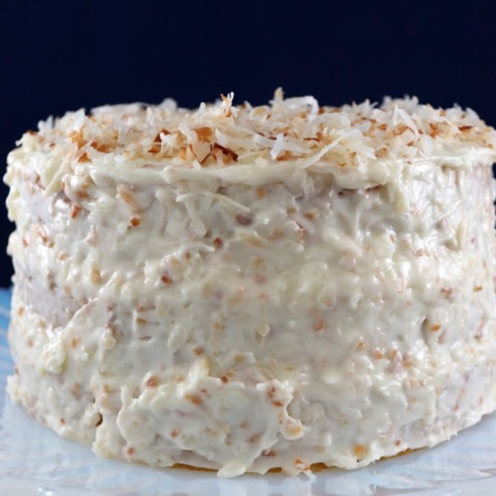 Coconut cake on a cake stand