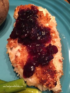 Panko Crusted Chicken with Maple Cranberry Sauce