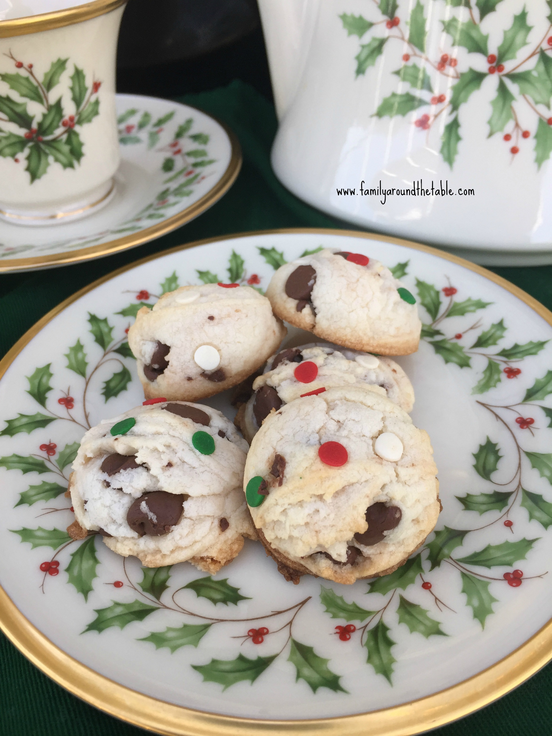 Christmas Chocolate Chip Cookies Family Around The Table