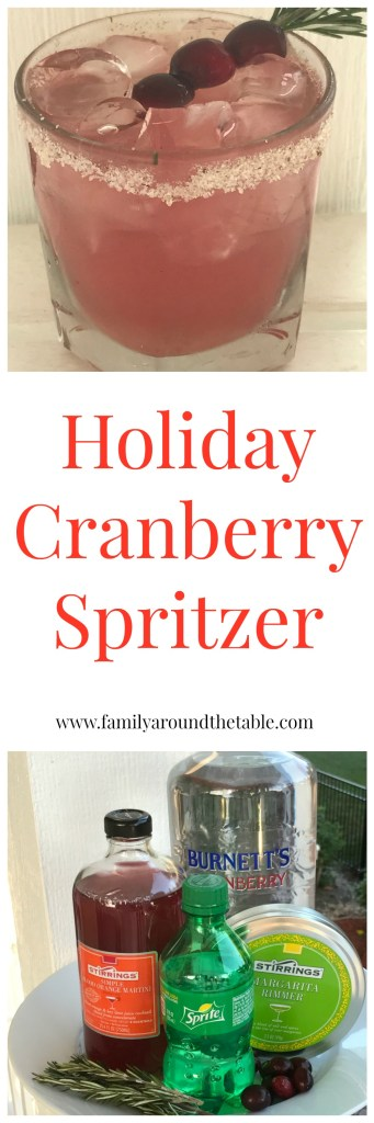 Holiday Cranberry Spritzer made with Stirrings Mixers. #ad