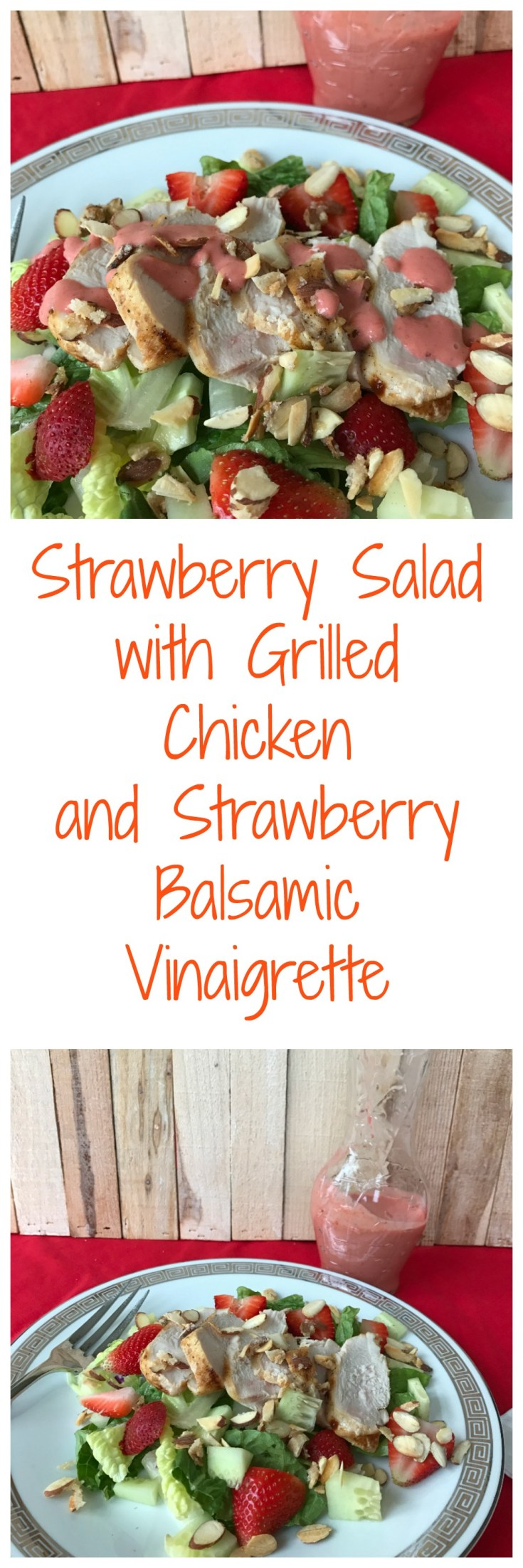 Strawberry Salad with Grilled Chicken and Strawberry Balsamic Vinaigrette is a delicious weekend lunch.
