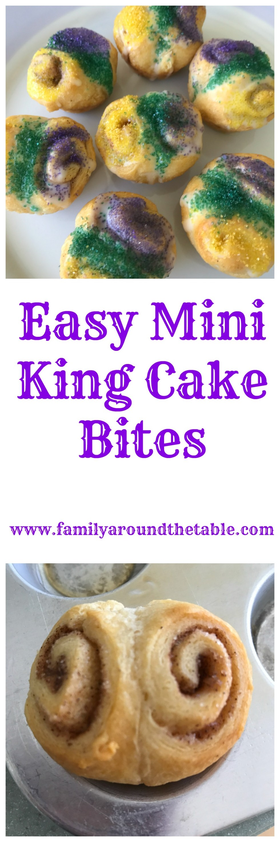 King Cake is a Mardi Gras tradition. This mini version is a fun treat.