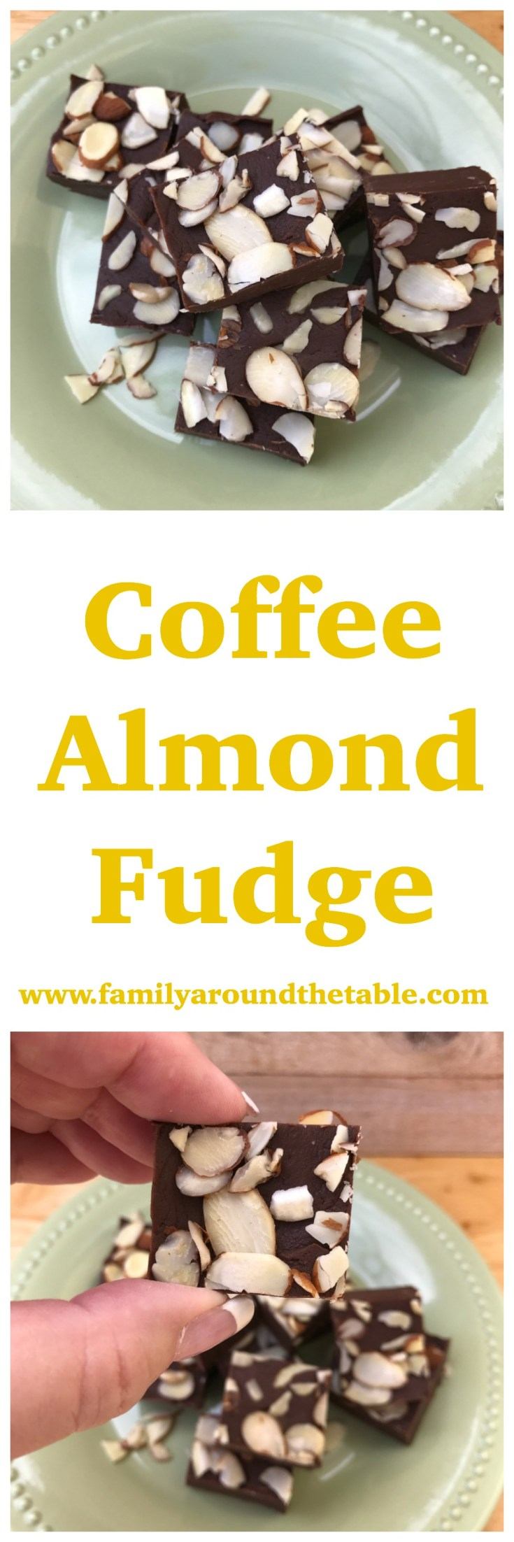 Coffee almond fudge makes a delicious dessert table treat or party favor for guests.