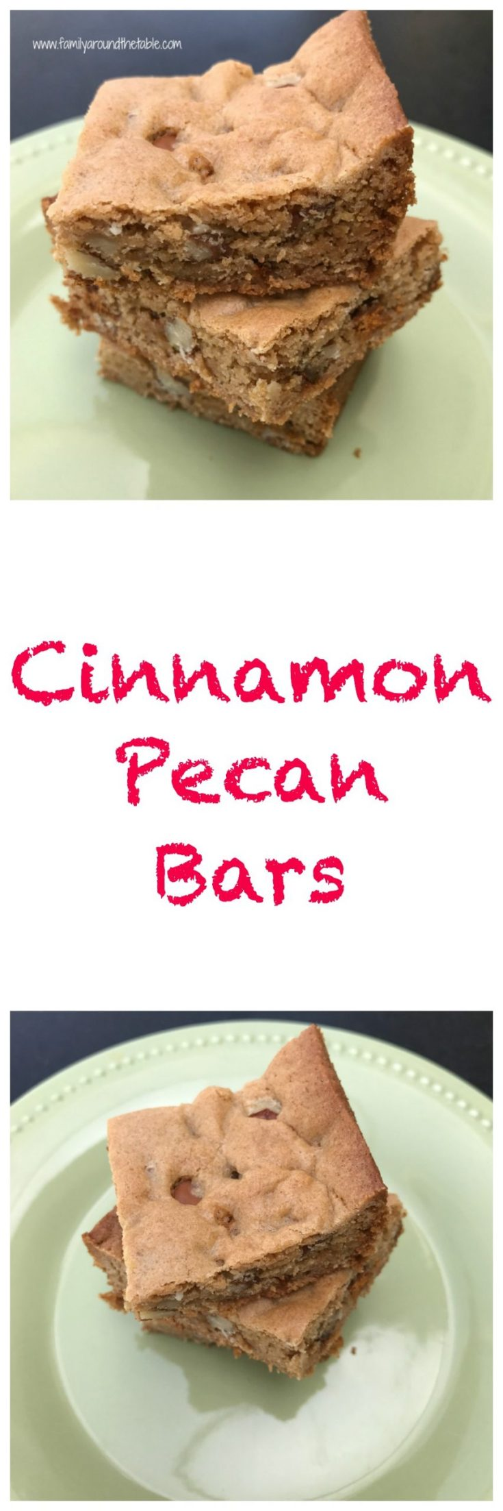 Enjoy cinnamon pecan bars with a cup of coffee or tea.