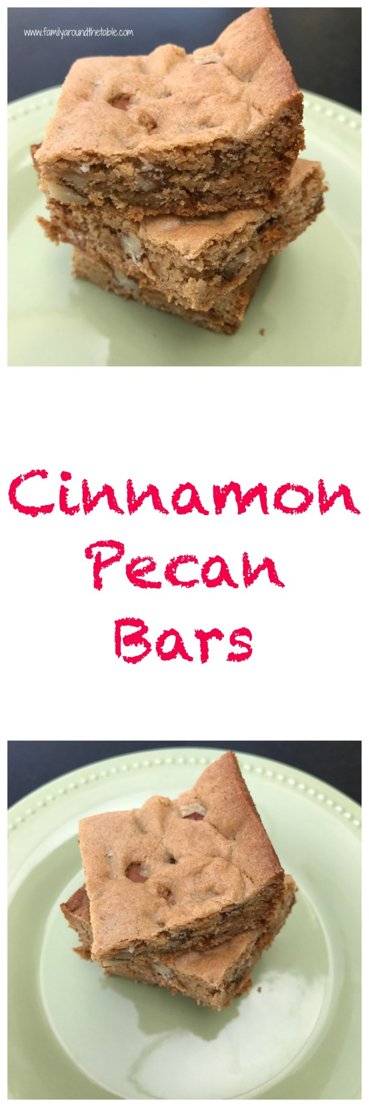 Enjoy cinnamon pecan bars with a cup of coffee or tea.