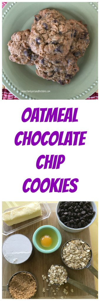 Oatmeal chocolate chip cookies are a perfect lunchbox or after school treat.