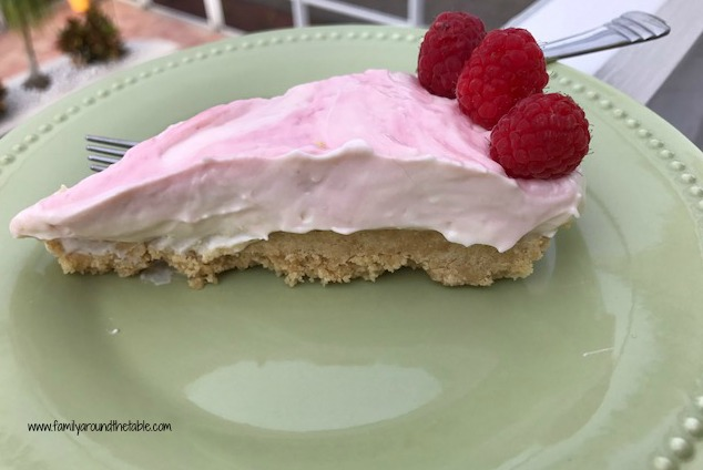 No-Bake Raspberry Swirl Cheesecake with Lemon Cookie Crust