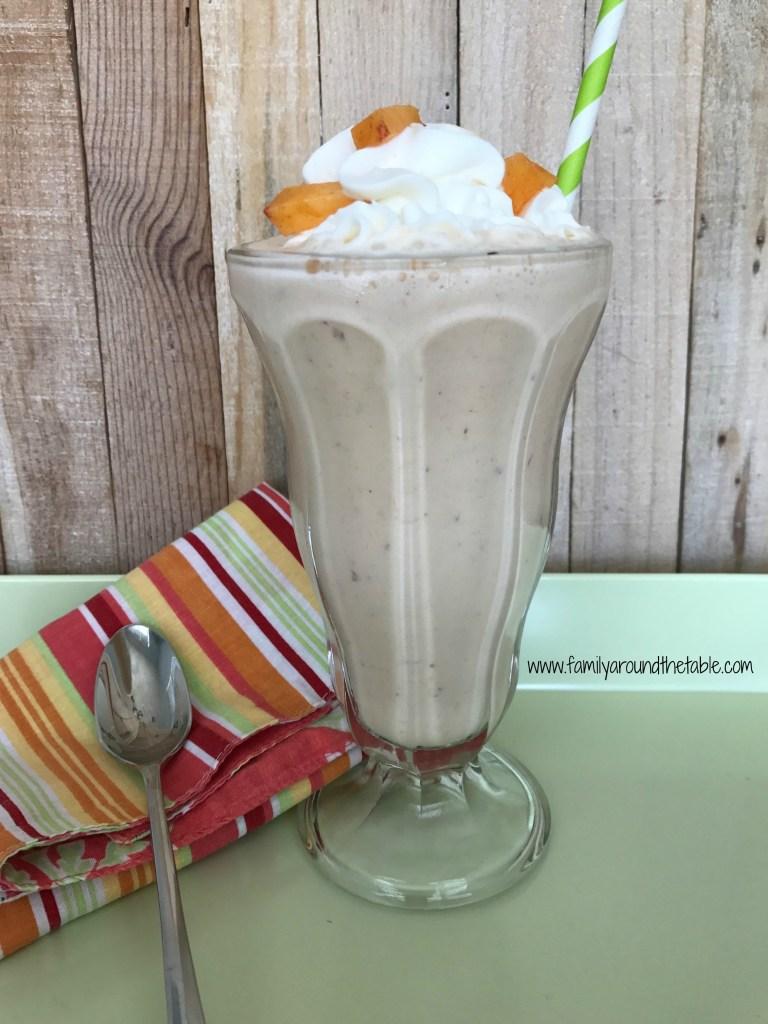 Full of peach and vanilla flavor, this peach milkshake is a treat.