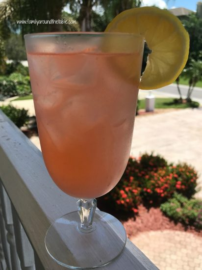 Fresh strawberry lemonade is a refreshing treat.