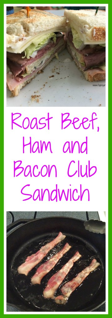 Roast beef, ham and bacon club sandwiches are a delicious weekend lunch.
