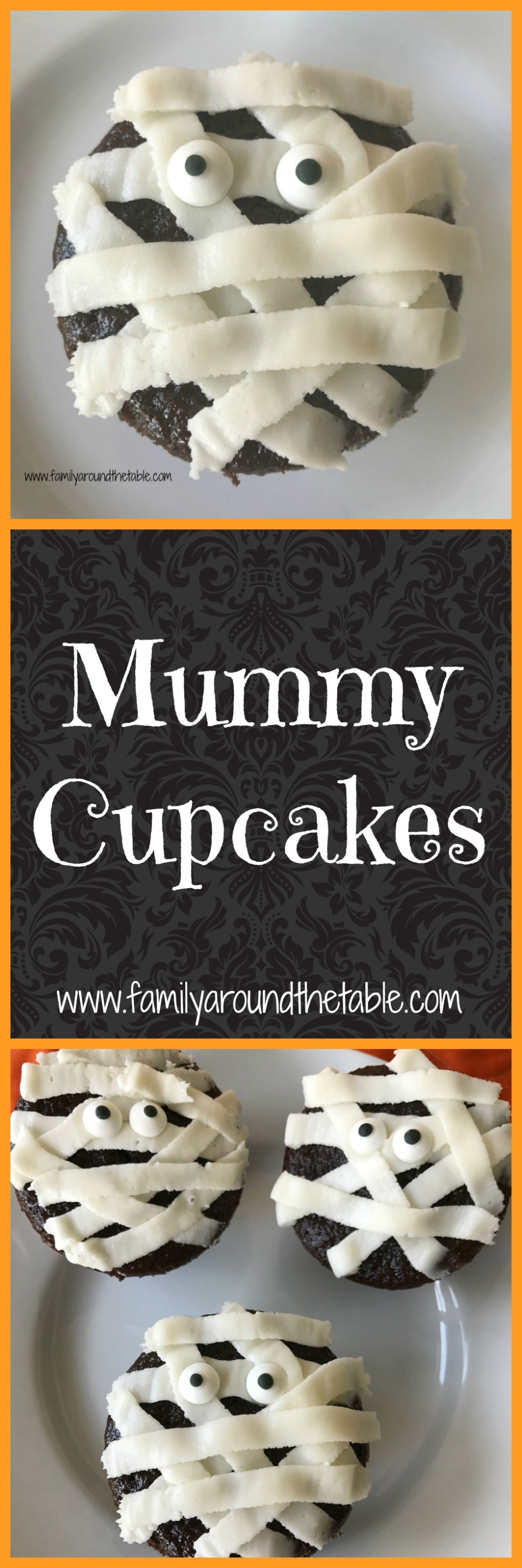 Mummy cupcakes are an easy treat for a Halloween party.