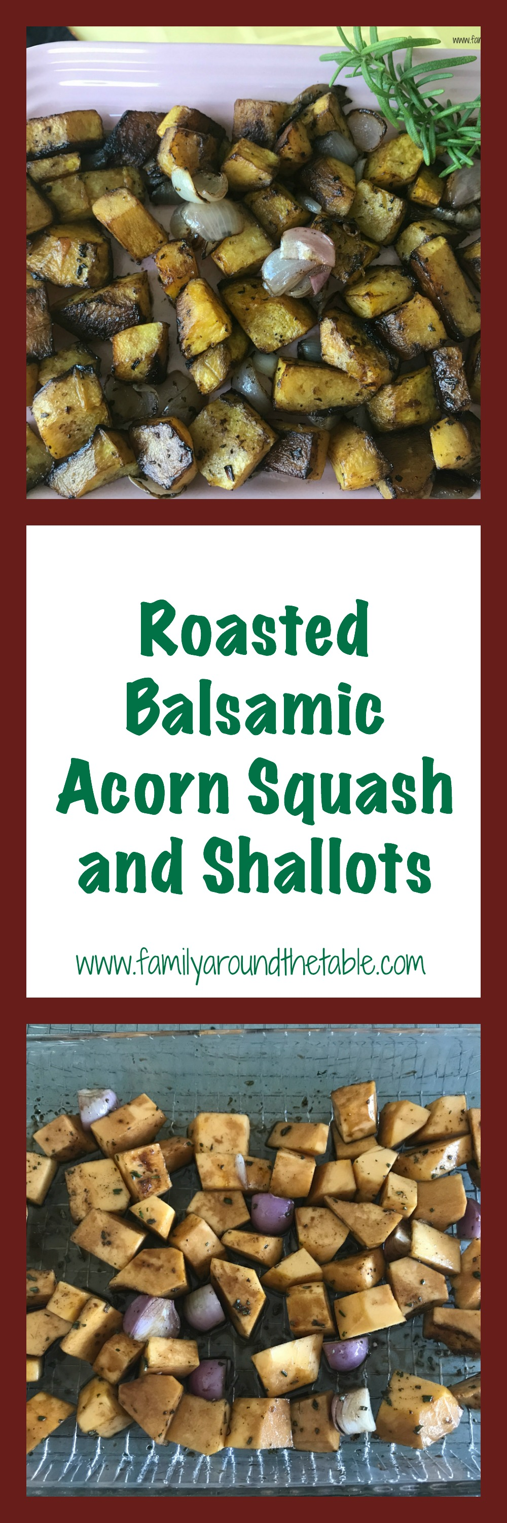 Roasted balsamic acorn squash and shallots makes the best of fall produce.
