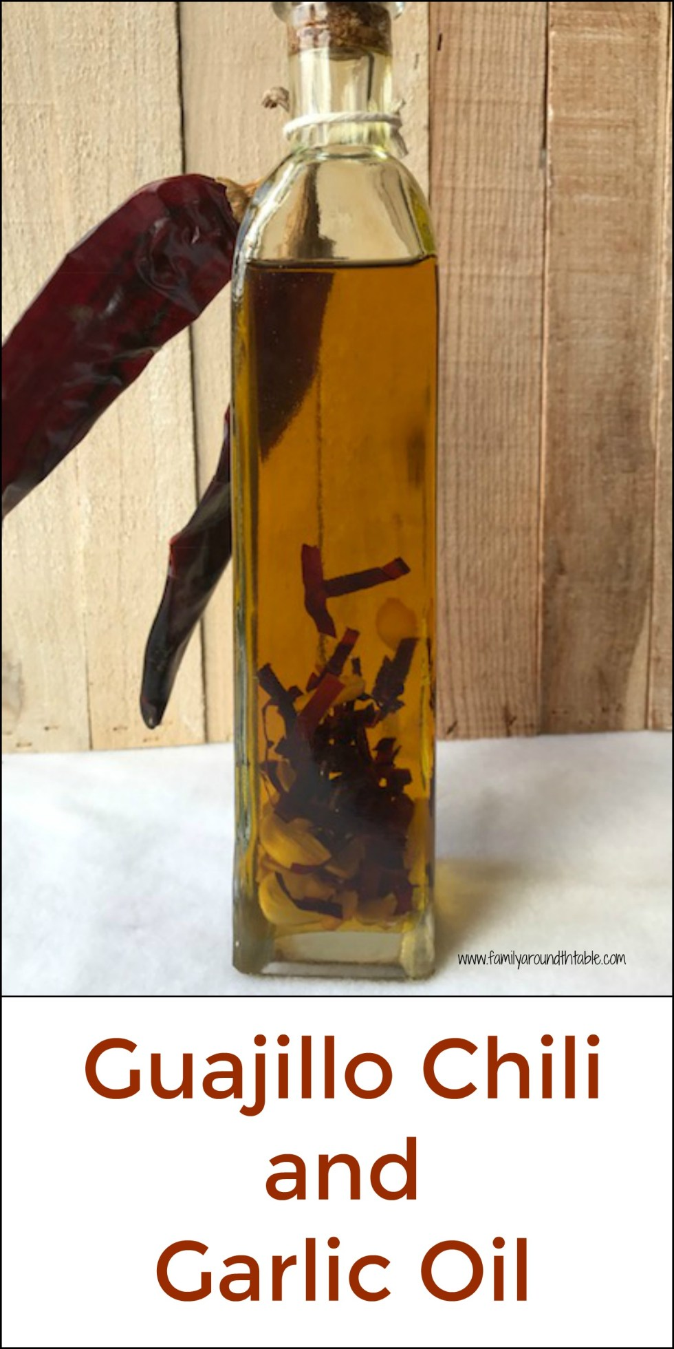 Use guajillo chili and garlic oil on fish, chicken or roasted vegetables.
