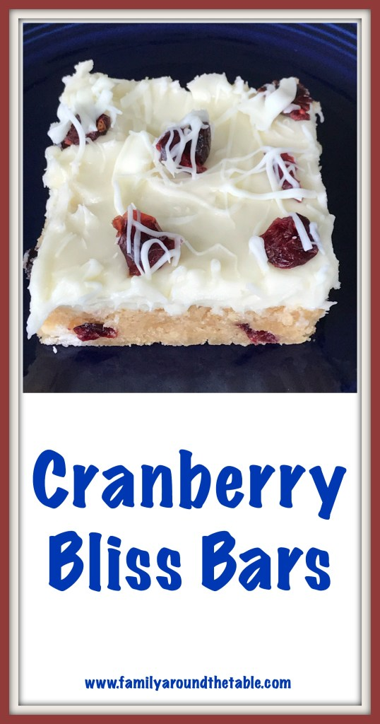 Cranberry Bliss Bars are a sweet end to any meal.