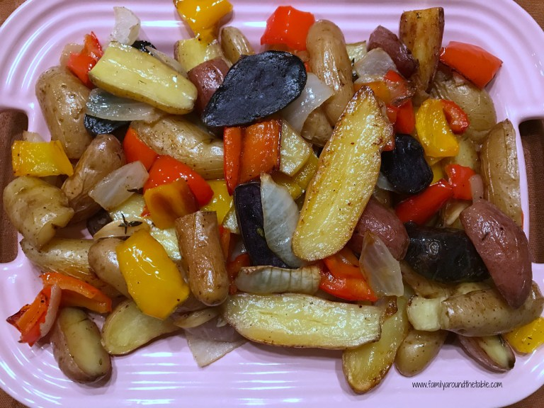 Roasted Fingerling Potatoes, Peppers and Onions with Garlic and Thyme