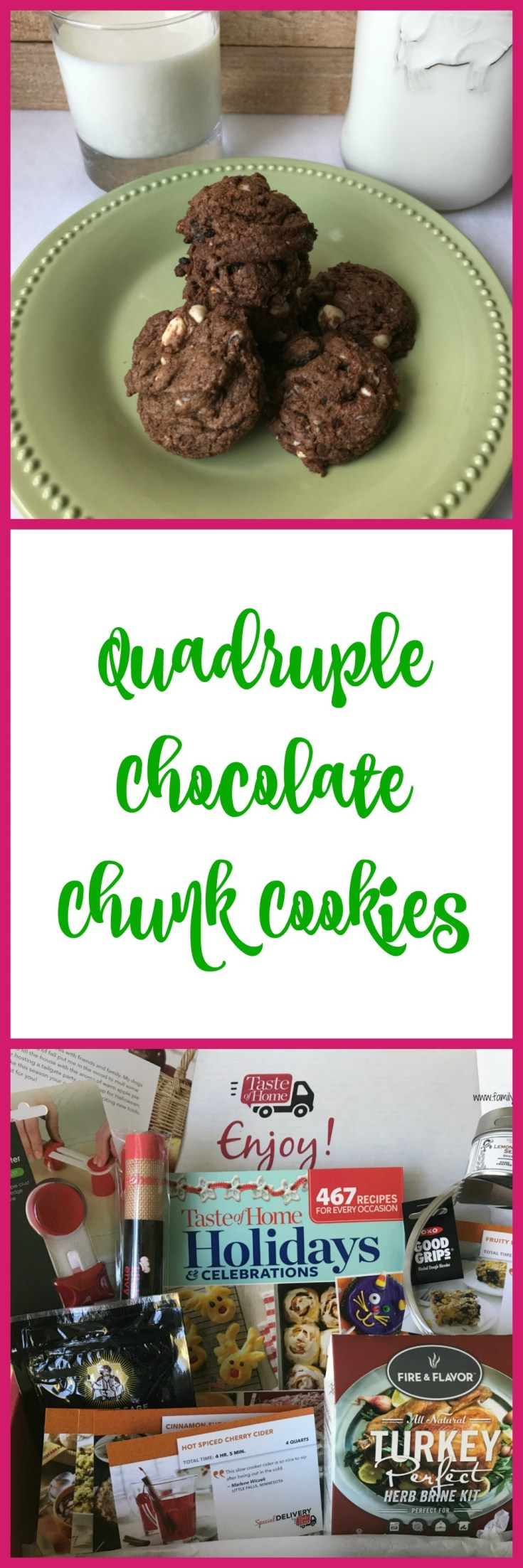 Chocolate lovers will flip for these delicious quadruple chocolate chunk cookies cookies.