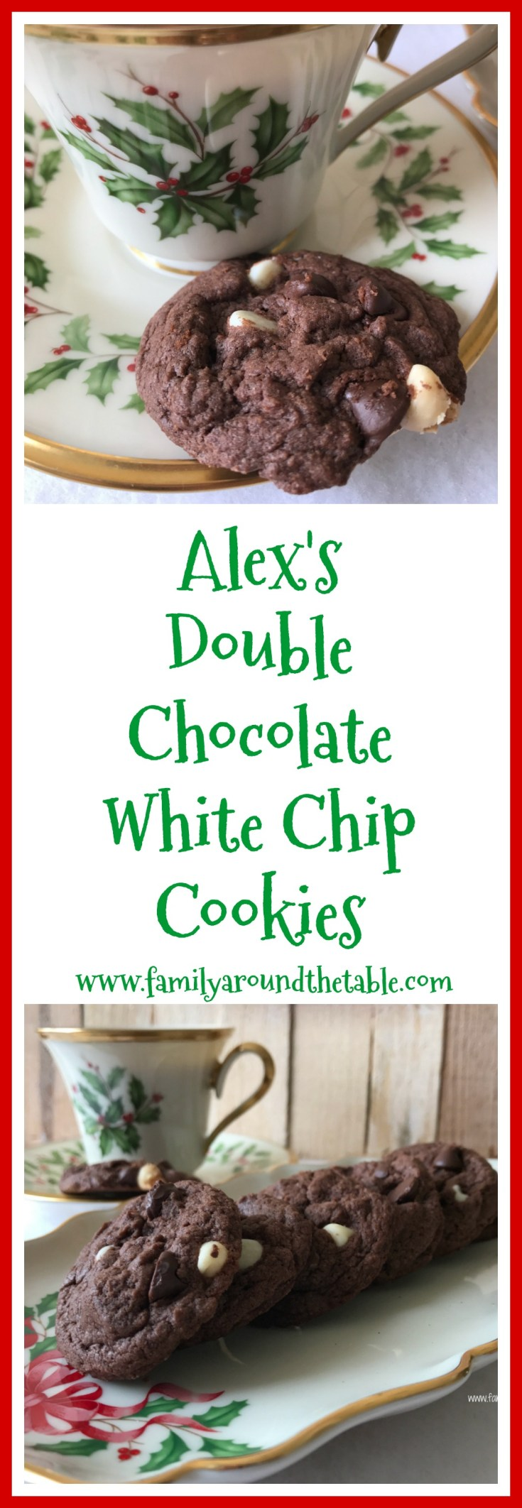 Easy enough for kids to help or for older kids to make on their own. Alex's double chocolate white chip cookies start with a mix.