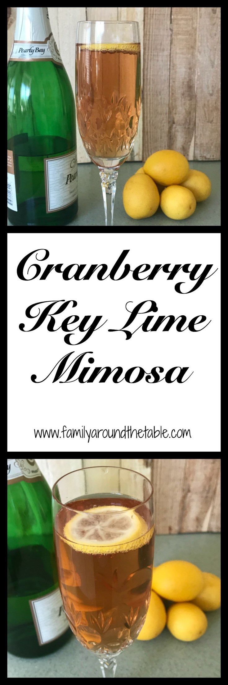 Entertain your guests with cranberry key lime mimosas.