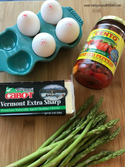 BrunchWeek sponsor products used in red pepper, asparagus and cheddar quiche.