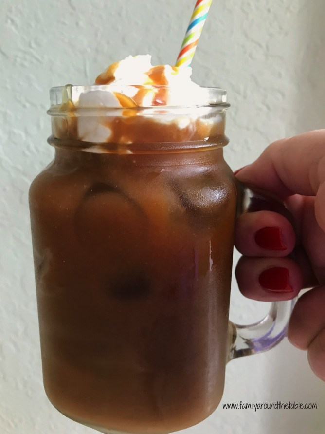 Finish off your evening with an iced vanilla caramel latte. Perfect for a hot night.