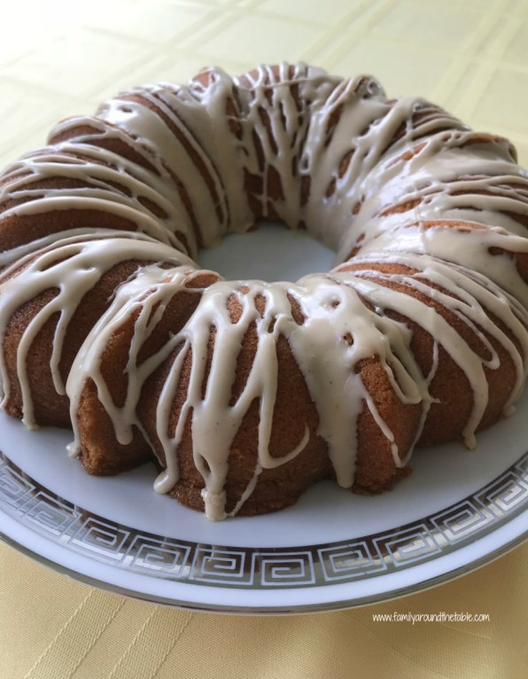 Maple Bundt cake with cinnamon maple glaze uses real maple syrup for authentic flavor.