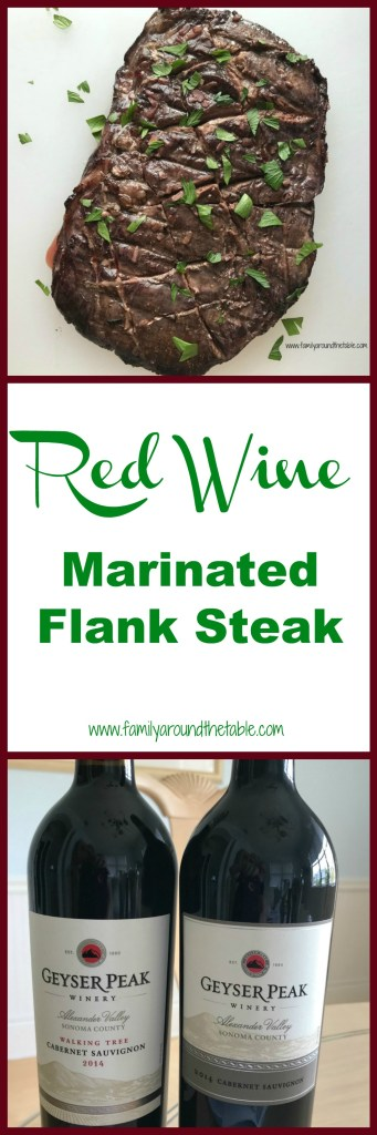 Red wine marinated flank steak is grilled to perfection. A lovely dish for entertaining.
